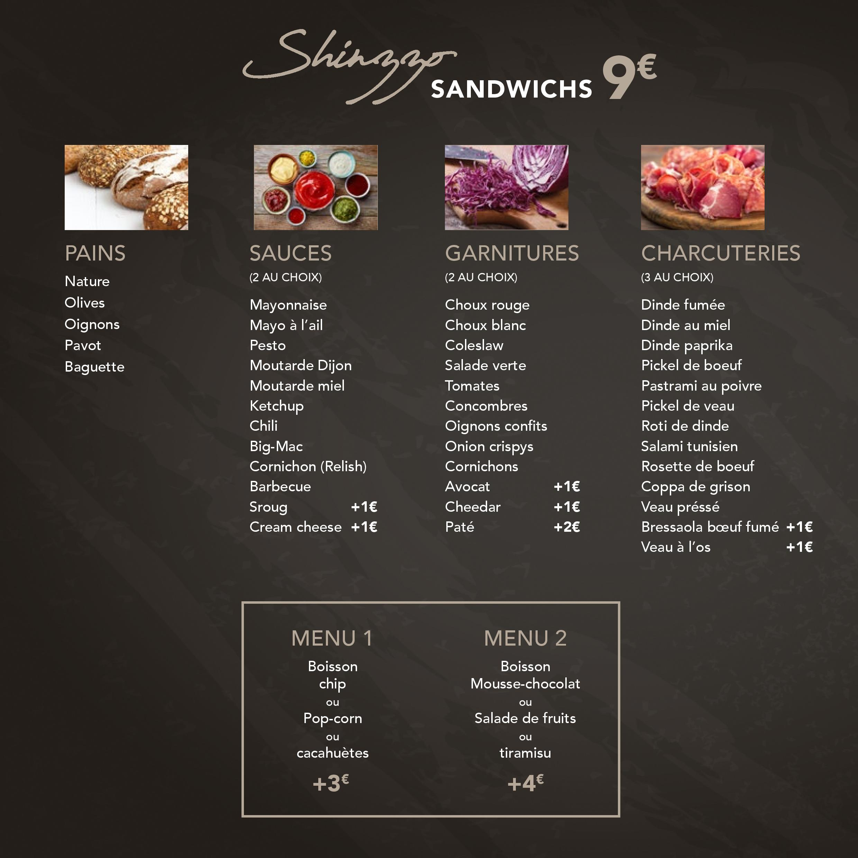 Menu Sandwicherie Shinzzo 1